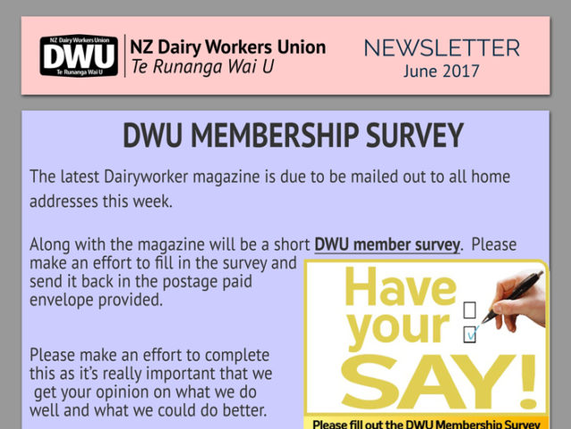 New Zealand Dairy Workers Union  Monthly Newsletter