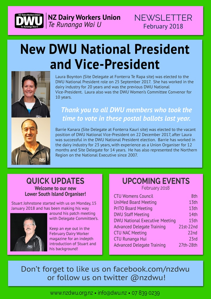 New Zealand Dairy Workers Union  Monthly Newsletter  February